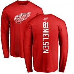 Youth Frans Nielsen Detroit Red Wings Backer Long Sleeve T-Shirt - Red